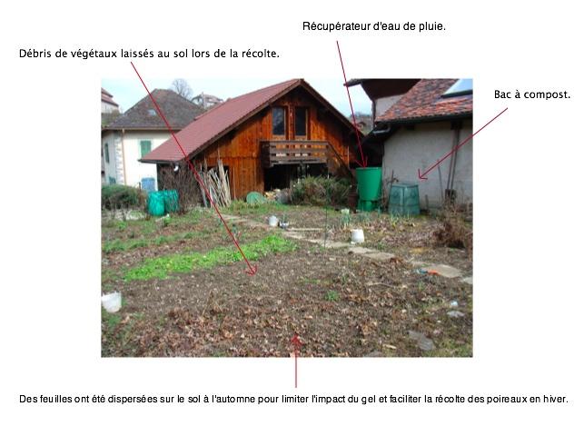 Jardin à la sortie de l'hiver (Haute-Savoie)